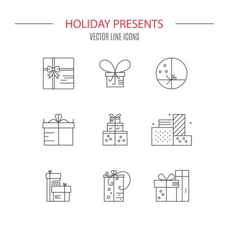 git: Gift box symbols. Vector collection. Design element for gift shop, symbol for holidays. Present icons and git boxes.