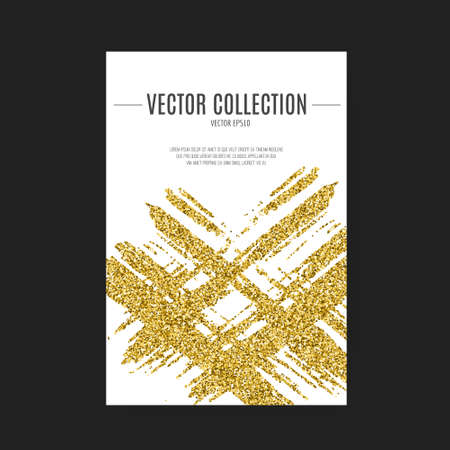 Template for banner, flyer, save the date, birthday party or other invitation with gold background. Gold glitter card design. 100% vector design template - easy to use and edit. Иллюстрация