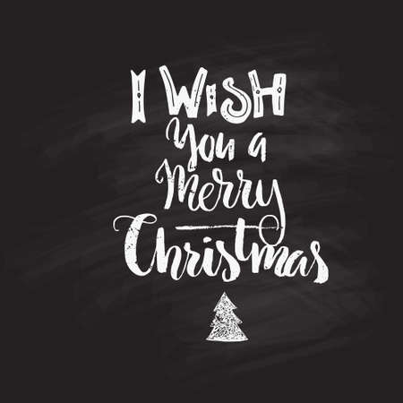 winter wish: I Wish You A Merry Christmas - winter holiday typography made in vector. handdrawn lettering. Christmas card design. Illustration