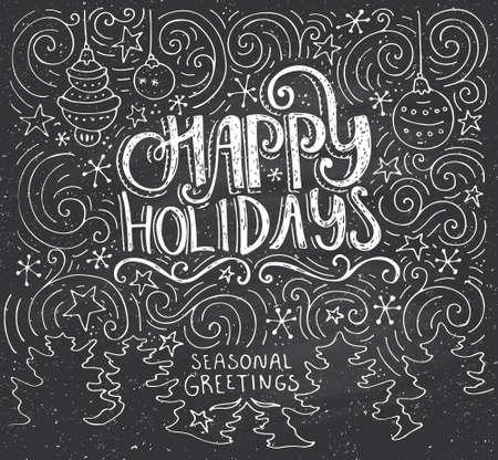 Buenas fiestas - letras dibujado a mano. illustratuon único con tipografía, remolinos y árboles de Navidad en el fondo. Plantilla de la tarjeta de Navidad. Foto de archivo - 50367403