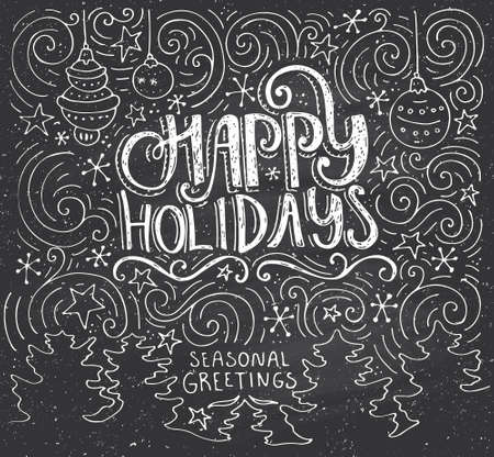 typography: Happy Holidays - handdrawn lettering. Unique illustratuon with typography, swirls and Christmas trees on the background. Christmas card template.