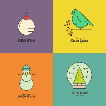 pictogramm: Collection of Christmas made in modern style linear vector.�Clean and easy to edit. Vector illustration made in minimalistic style.