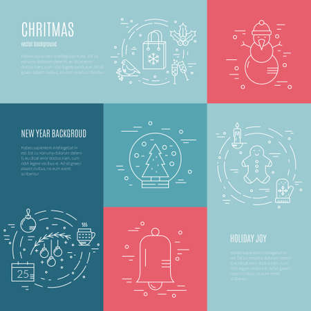 aquifolium: Minimalistic concept with christmas objects. New year celebration pictogramms.Clean and easy to edit. Modern design element for flyer template, advertisement or commercial add.