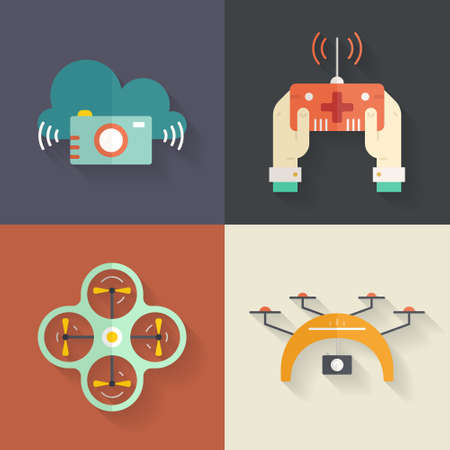 drones: Vector collection of icons with drones, quadrocopters, muticopters. Drone technology. Aerial photography and videography.