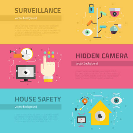 monitored area: Video surveillance banners. Security cameras and monitoring concept. CCTV icons made in modern flat style. Vector flyers template.