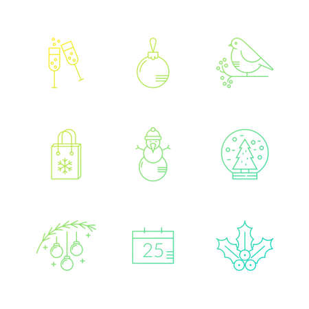 aquifolium: Collection of vector line icons with various christmas and new year celebration elements.Clean and easy to edit. Icons can be used for web pages, apps and as christmas infographic elements. Illustration