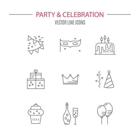 event planning: Collection of party symbols. Vector line style icons. Celebration and event planning pictogramms.