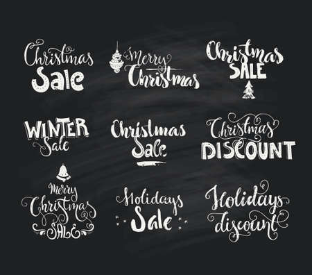 christmas market: Christmas sale and Christmas discount - handdrawn signs on chalk background. Handdrawn lettering. Vector art.