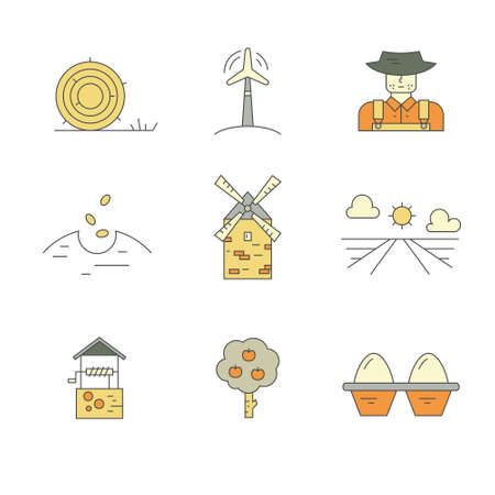seeding: Vector icons with farming and agricultural elements for local markets or farming industry.