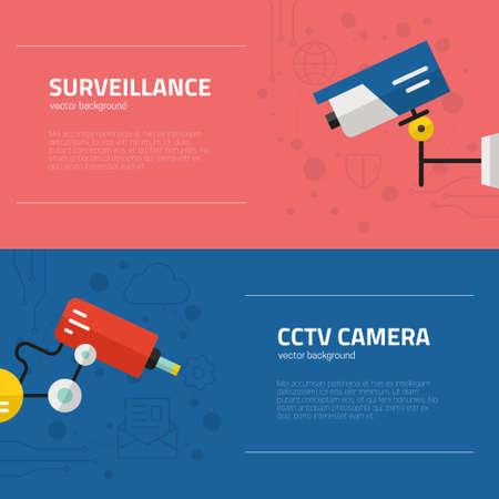 banner di videosorveglianza. Telecamere di sicurezza e il concetto di monitoraggio. Icone CCTV realizzati in stile moderno appartamento. Vector volantini modello.
