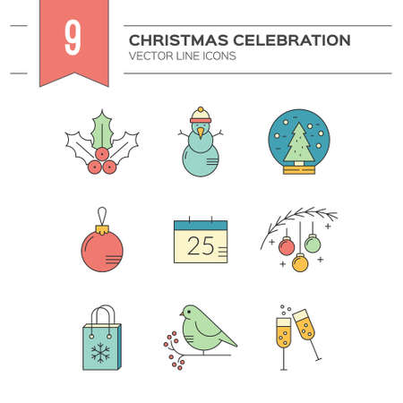 pictogramm: Unique line collection of vector icons with different christmas and new year celebration elements.Clean and easy to edit. Icons can be used for web pages, apps and as christmas infographic elements.