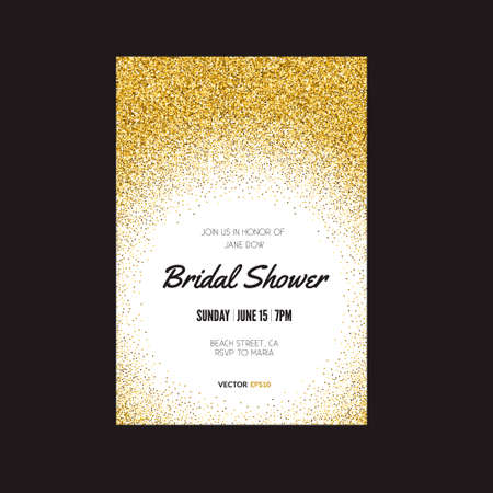 Template for banner, flyer, save the date, birthday party or other invitation with gold background. Gold glitter card design. 100% vector design template - easy to use and edit. Vettoriali
