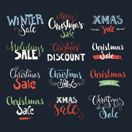 graphic elements: Holiday sale, Christmas discount, new year special offer - great handdrawn lettering for markets and shops. Christmas sale graphic elements.