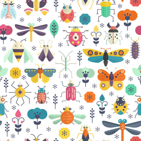 Vector seamless geometric pattern with bugs and insects on blue background with texture. Colorful seamless design. Vettoriali