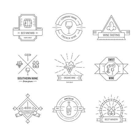 winetasting: Badges and labels for wine and restaurants with different winery elements. Set of design elements for vineyard. Vector vintage design. Illustration