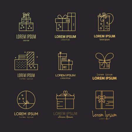 Obecne etykiety i ikony. Kolekcja wektora różnych prezentów i pudełka. Linia Vector serii. Ilustracje wektorowe