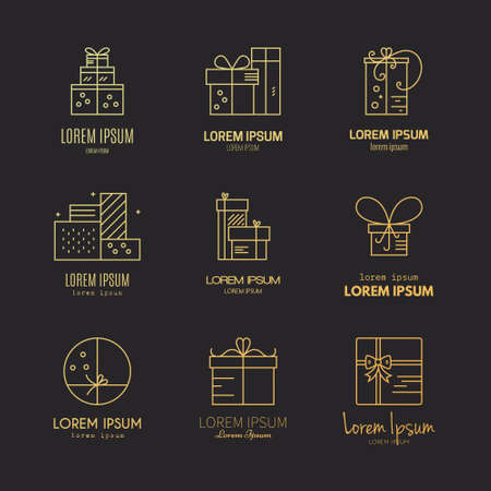 Present labels and icons. Vector collection of different presents and gift boxes. Vector line series. Ilustrace