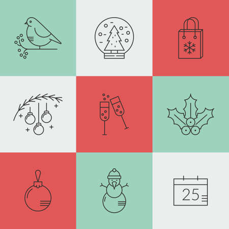 aquifolium: New Year and Christmas icon set made in modern style linear vector.Clean and easy to edit. Icons can be used for web pages, apps and as christmas infographic elements. Illustration