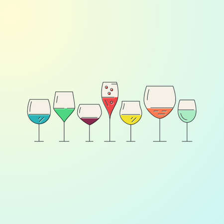 Collection of wine glasses on gradient background Illustration