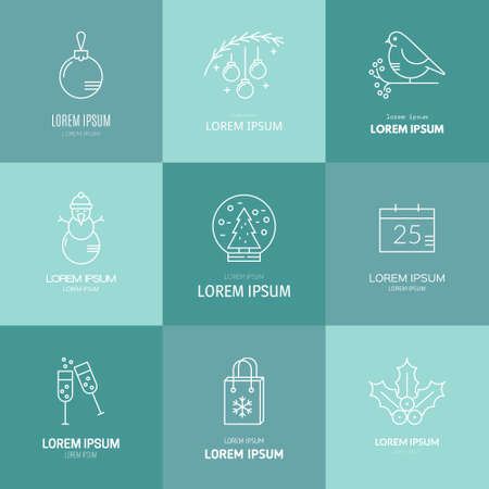 aquifolium: Vector line style collection with different christmas and new year objects.�Clean and easy to edit. Vector illustration made in minimalistic style.