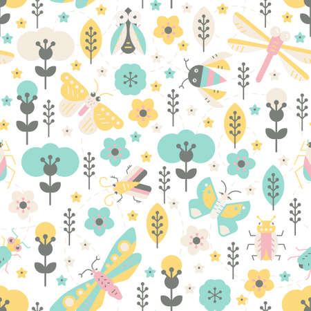 illustraion: Cute geometric pattern with bugs and insects. Colorful seamless texture for your design made in vector.