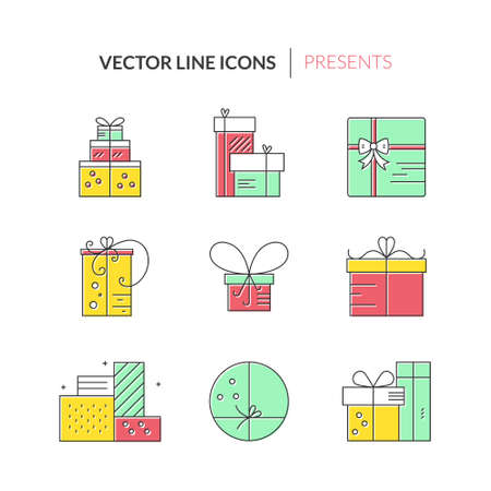 pictogramm: Christmas or birthday present icons made in modern line style vector. Holiday presents set. Gift boxes. Illustration