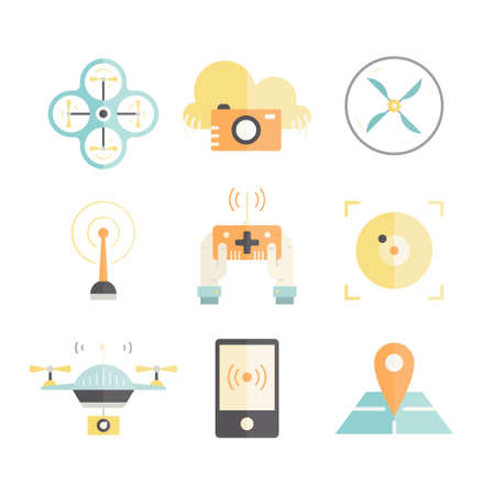 pictogramm: Modern vector set of icons with drones made in modern flat style. Drone technology. Vector collection of icons with drones, quadrocopters, muticopters.