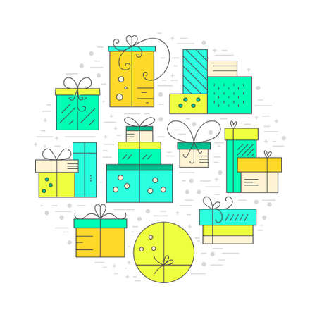 wrap wrapped: Collection of presents and gift boxes arranged in a circle. Design element for postcard, invitation, banner or flyer made in modern line style vector. Birthday party or holiday illustration.