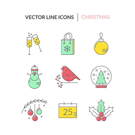 pictogramm: Minimalistic icon collection with christmas objects. New year celebration pictogramms. Clean and easy to edit. Icons can be used for web pages, apps and as christmas infographic elements.