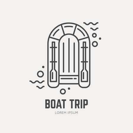 lifeboat: Line style logotype template with lifeboat. Cruise safety icon. Boat trip or rescue boat symbol. Safe travel icon for maritime companies.