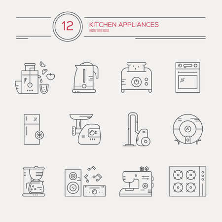 goods station: Household appliances - vector linear icons. Illustration