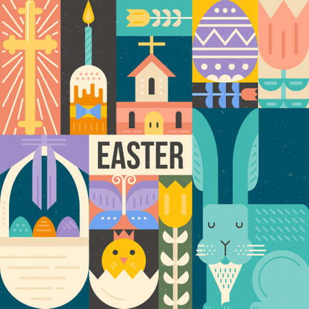 religious event: Vector Easter concept. Easter symbols made in modern flat style. Easter bunny, eggs, church - isolated elements for your easter design.