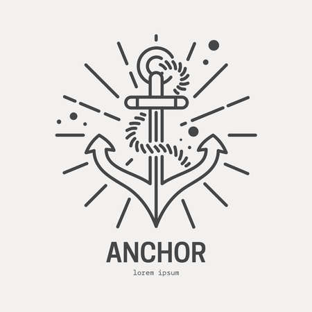 travel logo: Line style logotype template with anchor. Sea anchor. Boat anchor. Isolated on background and easy to use. Perfect logo for your business. Travel and adventure concept.