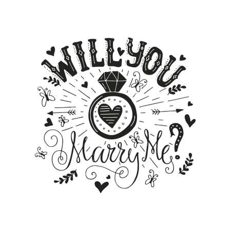 proposal: Handdrawn poster ?Marry Me? with engagement ring, hearts and swirls. Engagement party invitation. Save the date card design. Love lettering with engagement ring. Romantic handdrawn lettering. Vector art. Valentine card.