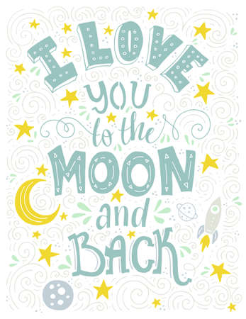 postcard back: I Love You To The Moon And Back - romantic vector typography. Lettering made by hand. Handdrawn illustration for postcard, save the date card, romantic housewarming poster. Illustration