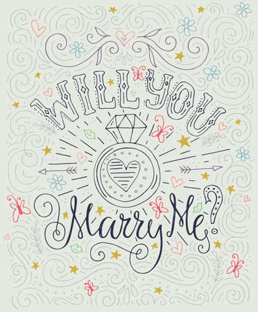 engagement party: Will You Marry Me - romantic typography poster with wedding proposal. Engagement party invitation. Save the date card design. Love lettering with engagement ring. Romantic handdrawn lettering. Vector art. Valentine card.