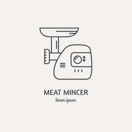 Single logo with graphic illustration of a mincer made in line style vector. Clean and modern label for a shop, product or company.