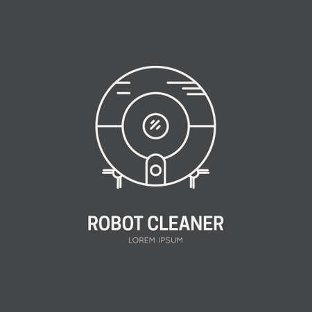 vacuum cleaner: Single logo with graphic illustration of a robot vacuum cleaner made in line style vector. Clean and modern label for a shop, product or company.