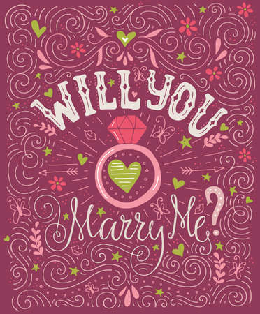 marriage proposal: Will You Marry Me - unique handdrawn lettering with marriage proposal. Engagement party invitation. Save the date card design. Love lettering with engagement ring. Romantic handdrawn lettering. Vector art. Valentine card. Illustration