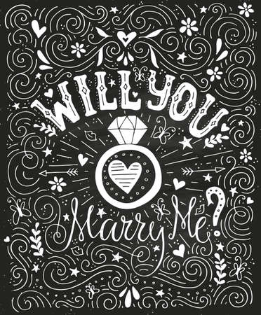 marry me: Will You Marry Me - unique handdrawn lettering with marriage proposal. Engagement party invitation. Save the date card design. Love lettering with engagement ring. Romantic handdrawn lettering. Vector art. Valentine card. Illustration