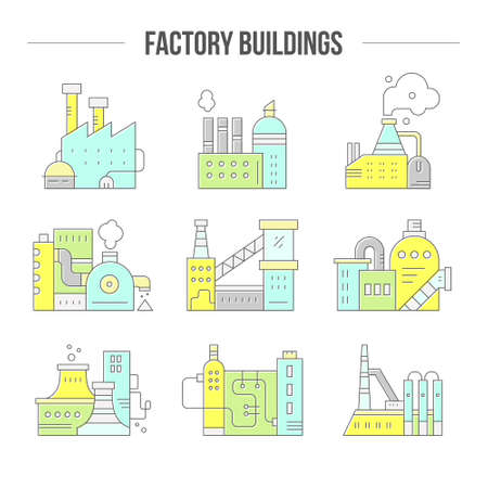 pictogramm: Factory buildings clipart. Factory buildings made in vector. Illustration
