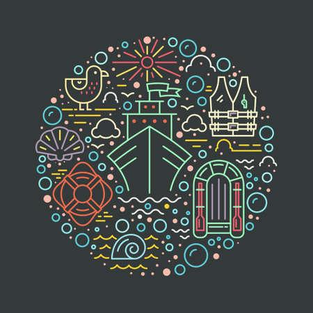 Kreis Design-Element mit verschiedenen Kreuzfahrt-Icons - Rettungsboot, Kreuzfahrtschiff, Rettungsboje, Möwe. Isolierte Vektor-Design-Element in trendigen Lifestyle gemacht. Sommer-Abenteuer-Konzept.