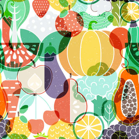 illustraion: Seamless vector background with different fruits and vegetables. Great for restaurant menu backdrop, healthy food concept, juice bar illustration. Vegetarian colorful texture. Great summer tile. Illustration