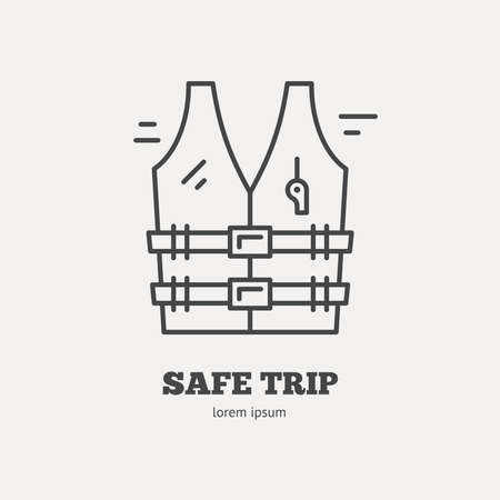 life jacket: Line style logotype template with lifevest or life jacket. Isolated on background and easy to use. Perfect logo for your business. Save trip concept. Illustration