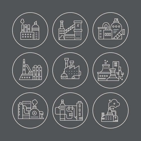 pictogramm: Collection of factory buildings in round badges.