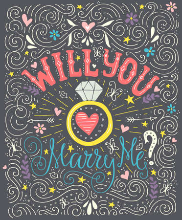 diamond ring: Handdrawn poster ?Marry Me? with engagement ring, hearts and swirls. Engagement party invitation. Save the date card design. Love lettering with engagement ring. Romantic handdrawn lettering. Vector art. Valentine card.