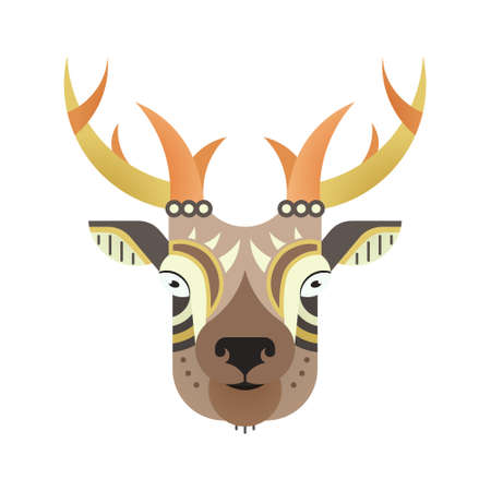 Portrait of an antelope made in trendy flat style vector. African animal. Safari label or t-shirt design with cute animal character.