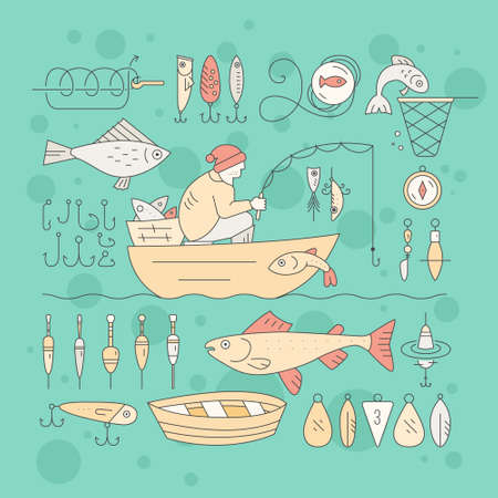 floater: Collection of fishing equipment made in vector. Trout, salmon, rod, boat, tackle, bait and other elements for outdoor activity. Fishing club or fishing gear shop clipart.