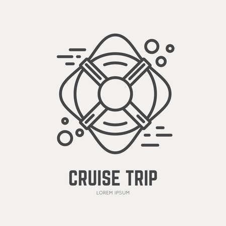 Line style logotype template with life ring. Ship safety concept Isolated on background and easy to use. Perfect logo for your business. Illustration