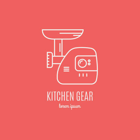 modern kitchen: Single logo with graphic illustration of a mincer made in line style vector. Clean and modern label for a shop, product or company.